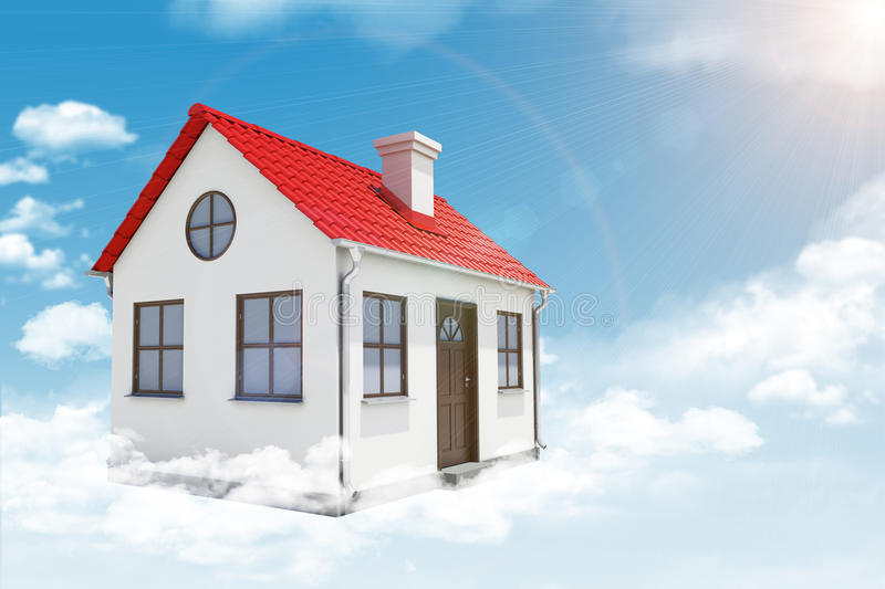 White House With Red Roof And Chimney In Cloud Stock Photo