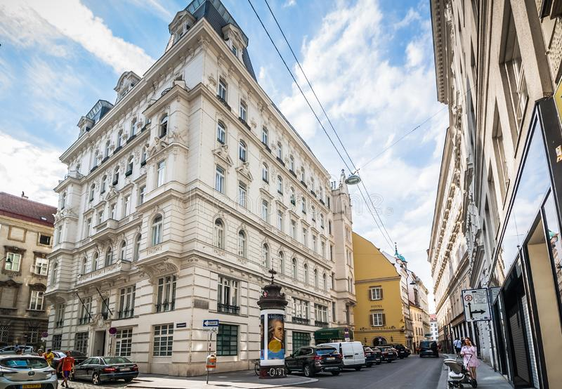 White house on Schulerstrasse with decorative ornaments on facade in classic style placed in Vienna, Austria stock photo