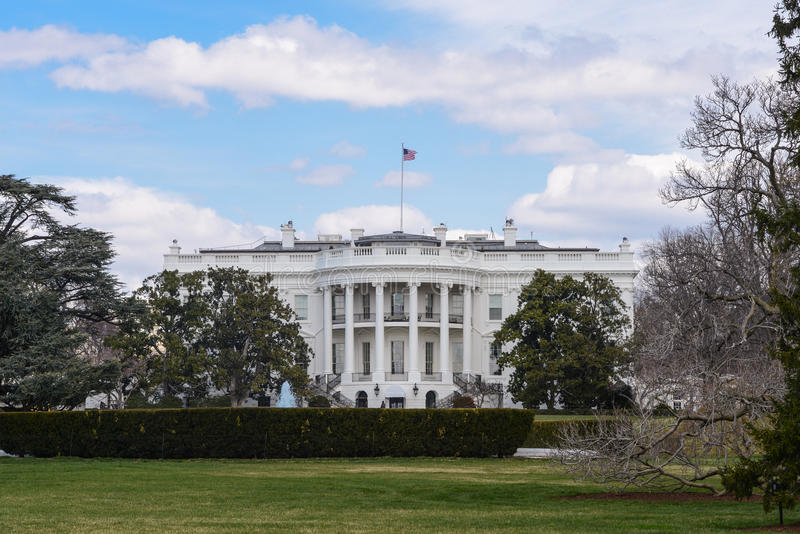 White House of the United States. On a Blue Sky and Cloudy Day stock photography