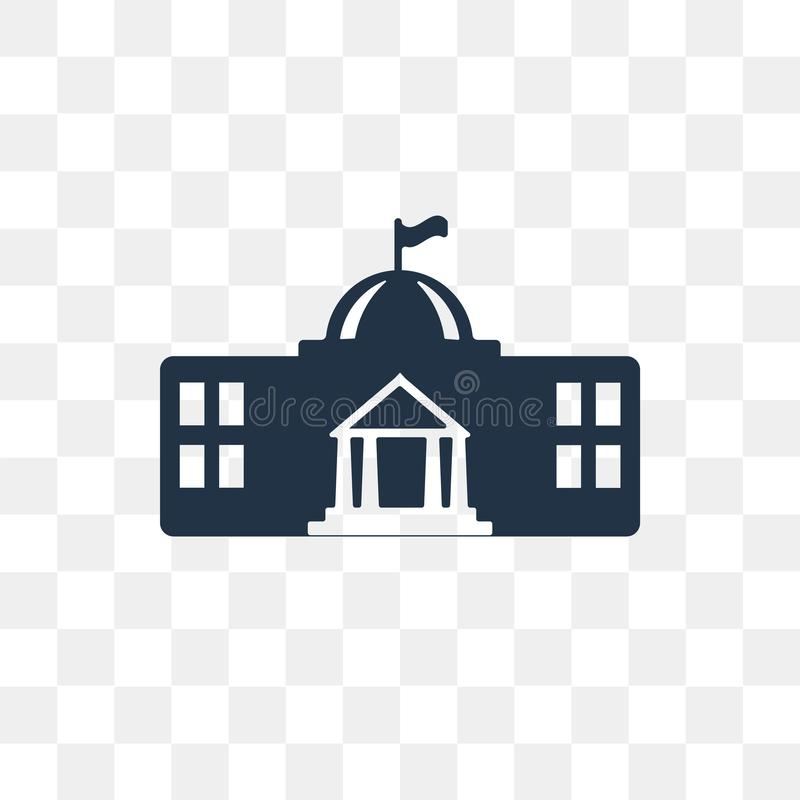 White house vector icon isolated on transparent background, Whit. E house transparency concept can be used web and mobile, White house icon vector illustration