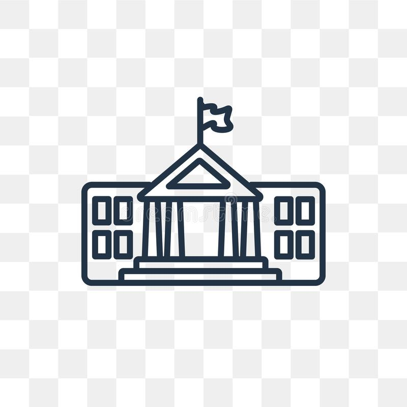 White House vector icon isolated on transparent background, line stock illustration