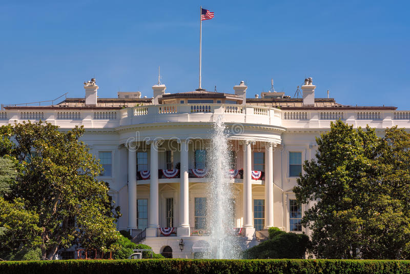 The White House in Washington DC at beautiful day stock image