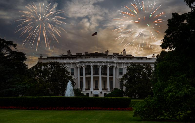 The White House, Washington DC of fireworks and starry sky, independence day. The White House, Washington DC of beautiful colorful holiday fireworks in the royalty free stock photo