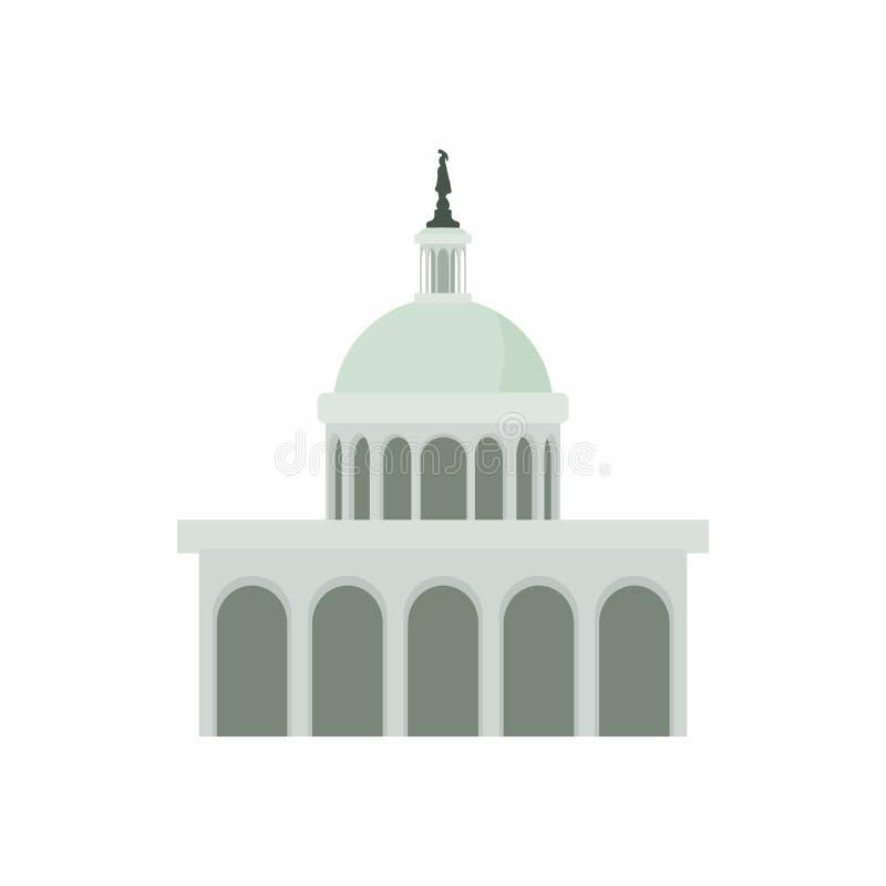 White House in Washington DC icon, cartoon style vector illustration