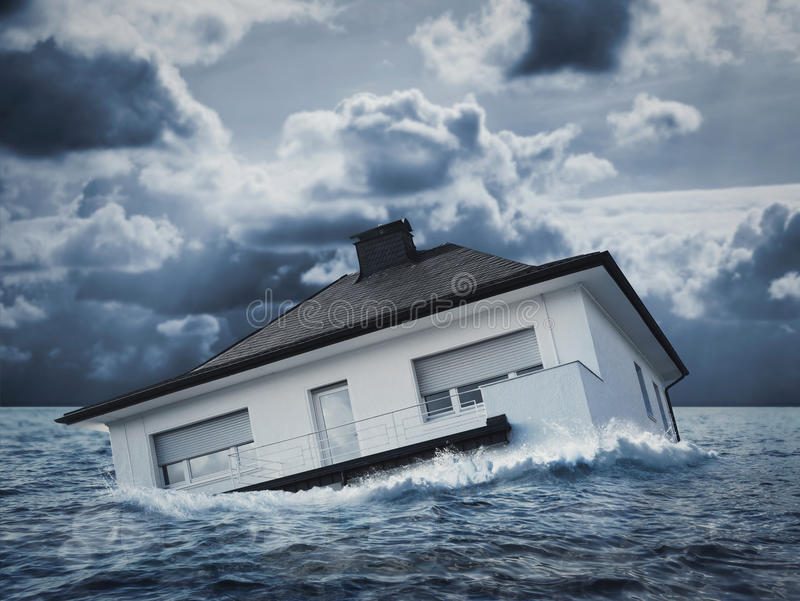 White house in water, flood. White house is sinking in floodwaters stock image