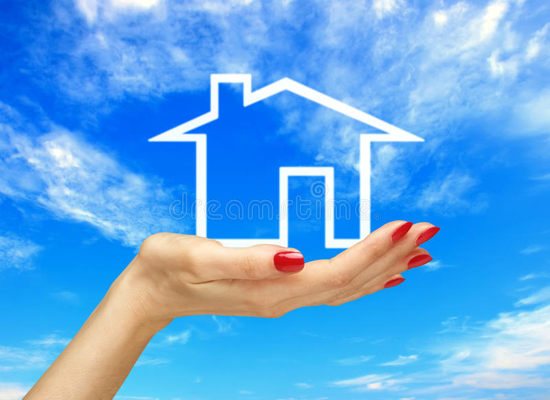 Download White House In Woman Hand Over Blue Sky. Real Estate Stock Photo - Image of arms, color: 41990202