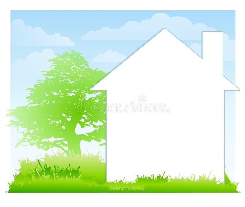 White House And Yard Background. A background illustration featuring a large silhouette of a white house with grass, tree and blue sky. The house is intended for