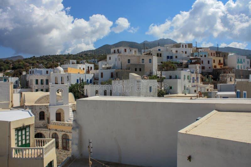 White houses in Mandraki village stock images