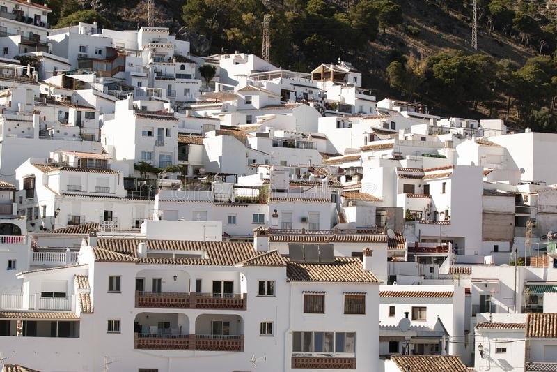 White houses on mountain slope royalty free stock photos