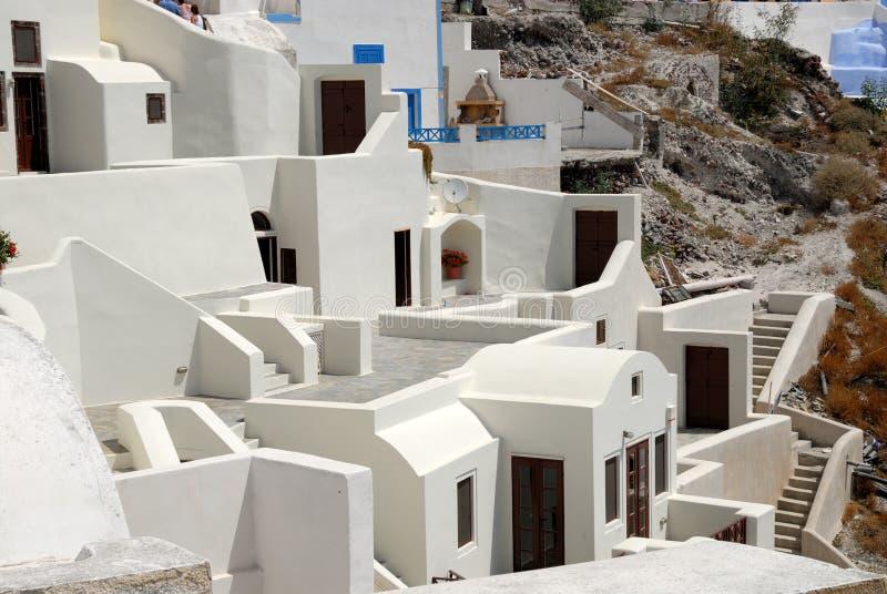White houses in Santorini, Greece stock photos