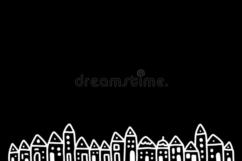 White houses small town in darkness black sky. Hand drawn vector illustration for background stock illustration