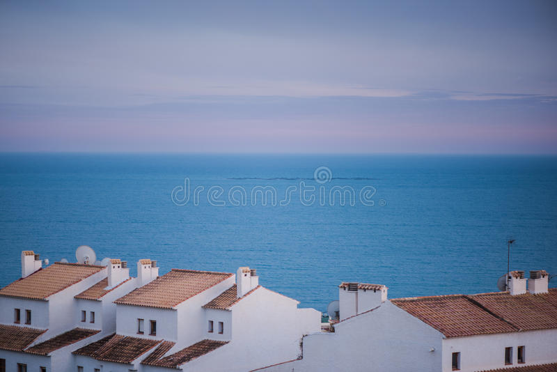 White houses with terracota roof in Costa Blanca. White houses with terracota roof in Altea, Costa Blanca, SPain royalty free stock photo