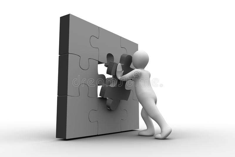 Download White Human Figure Solving Jigsaw Puzzle Stock Illustration - Image: 30885521