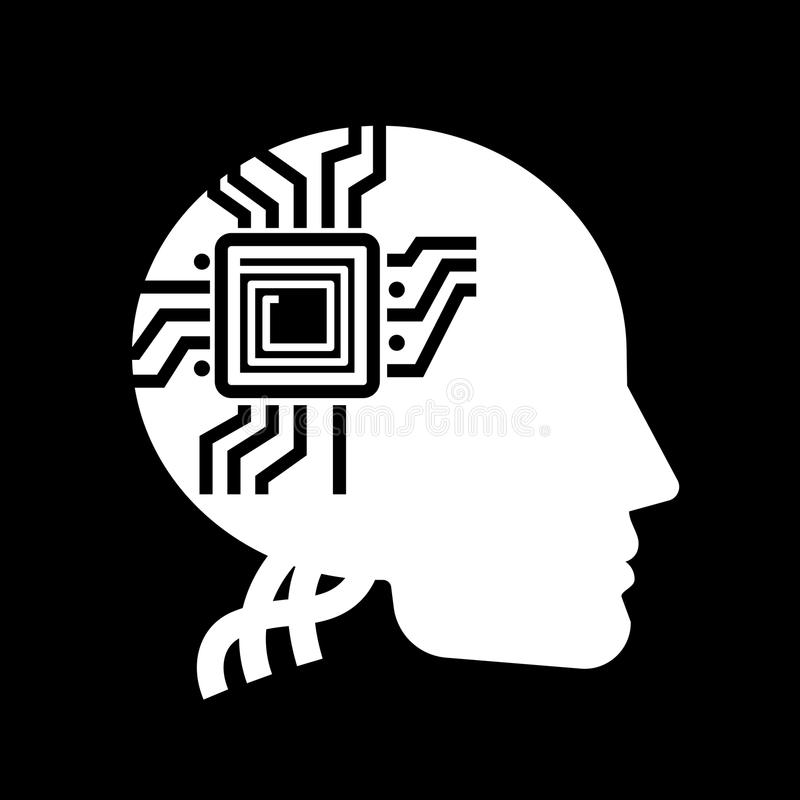 White human shape with microchip on black backdrop - future of people label design stock illustration