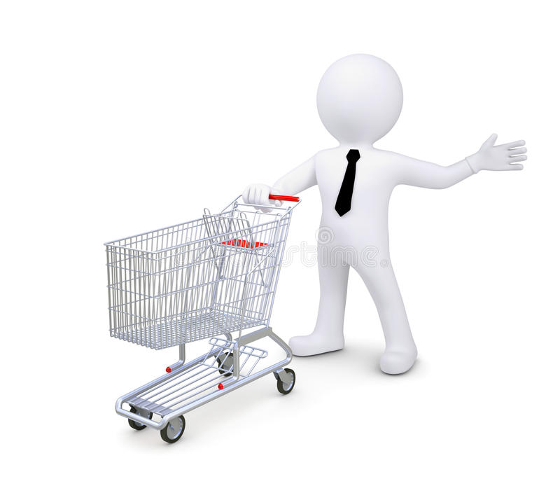 White human standing near a supermarket trolleys vector illustration