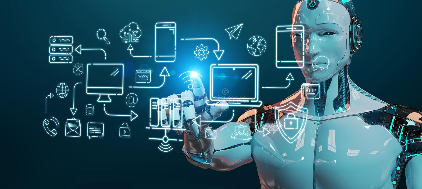 White humanoid controlling modern devices interface system. White humanoid on blurred background controlling modern devices interface system royalty free illustration