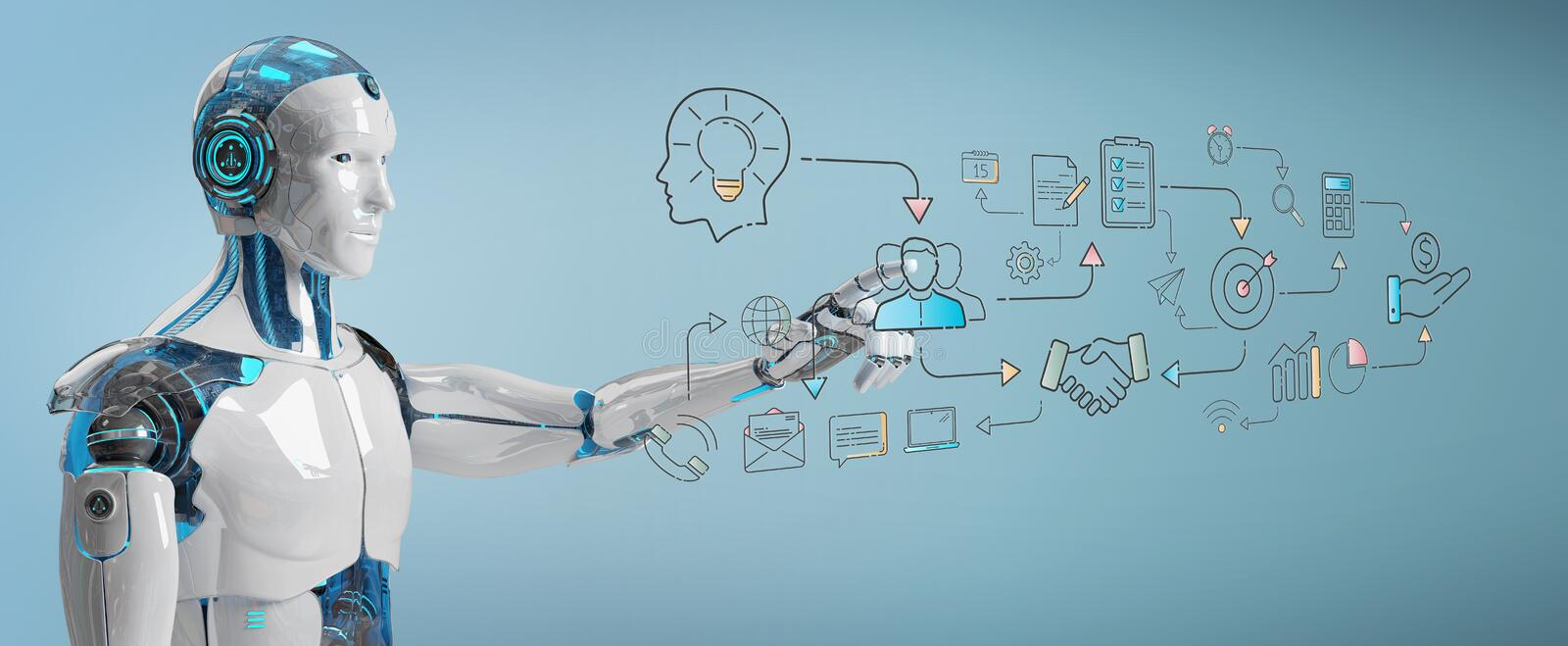 White humanoid creating artificial intelligence interface royalty free illustration