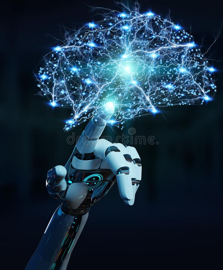 White humanoid hanid creating artificial intelligence 3D rendering. White humanoid hand on blurred background creating artificial intelligence 3D rendering royalty free illustration