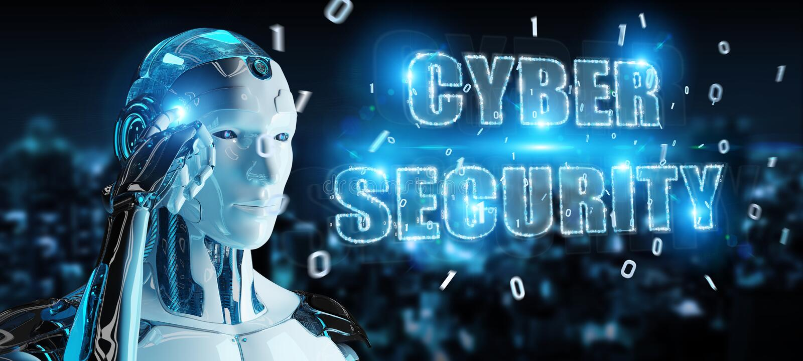 White humanoid using cyber security text hologram 3D rendering stock illustration