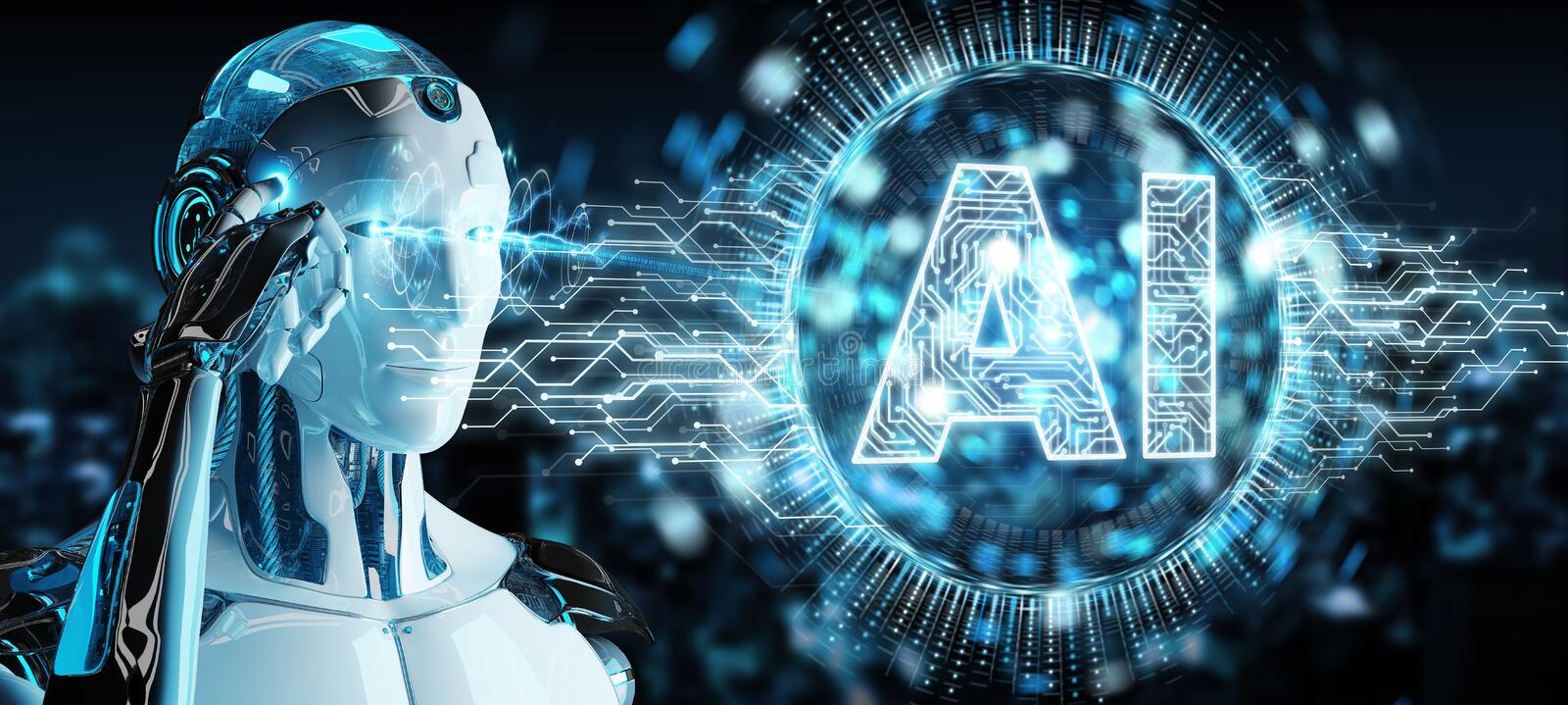 White humanoid using digital artificial intelligence icon hologram 3D rendering royalty free illustration