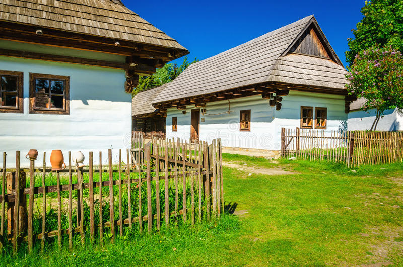 White huts in open-air museum of Liptov, Slovakia stock photo