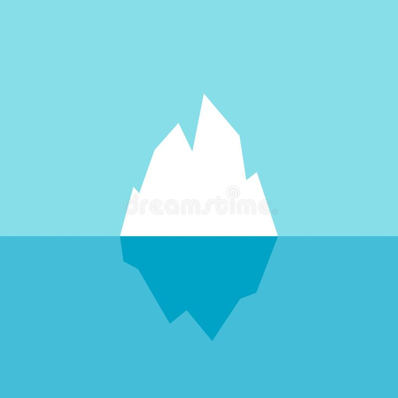 Ice berg vector icon. White iceberg vector poster isolated on blue background royalty free illustration