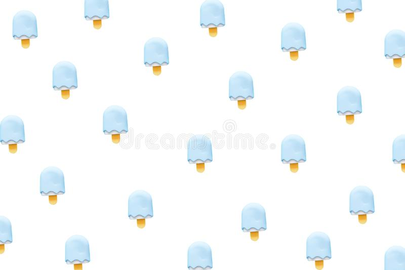 White Ice Cream Isolated on White Background. Eraser in Shape of Ice-Cream Dessert, Summer Minimalism. Abstract Bright Ice Cream royalty free stock photography
