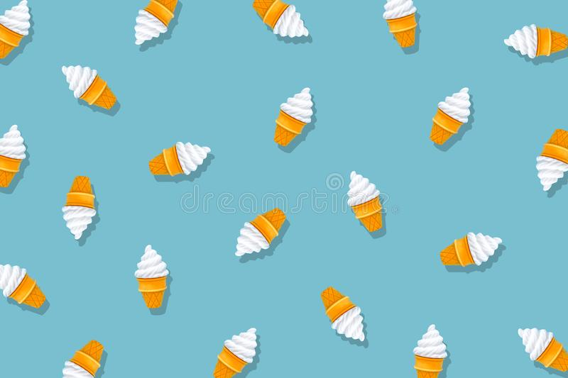 White Ice Cream Isolated on Pastel Blue Background. Eraser in Shape of Ice-Cream Dessert, Summer Minimalism. Abstract Bright Ice royalty free stock photography