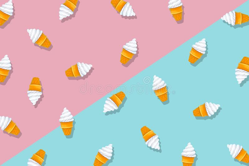 White Ice Cream Isolated on Pastel Pink and Blue Background. Eraser in Shape of Ice-Cream Dessert, Summer Minimalism. Abstract stock photography