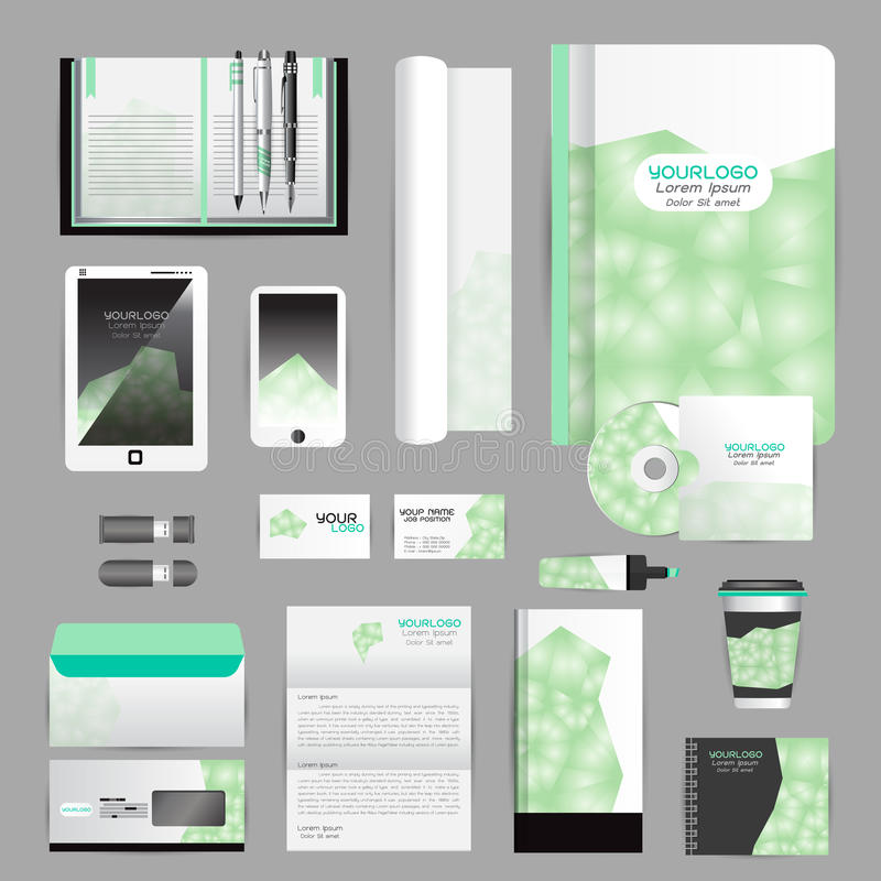 White Identity Template With Origami Elements. Vector Company Style ...
