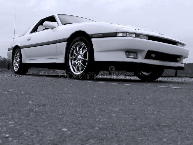 Download White Import Sports Car 80s Stock Photo   Image Of Rims, Coupe:  509366