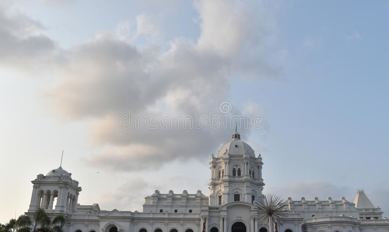 White indian palace closeup cloudy sky landscape. White indian palace closeup cloudy sky royalty free stock images