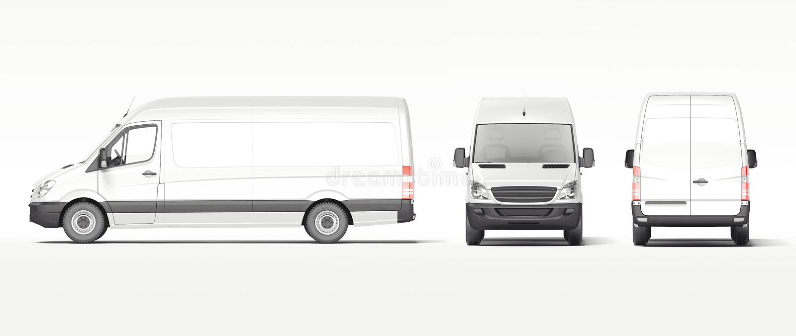 White industrial van isolated on bright background. 3d rendering vector illustration