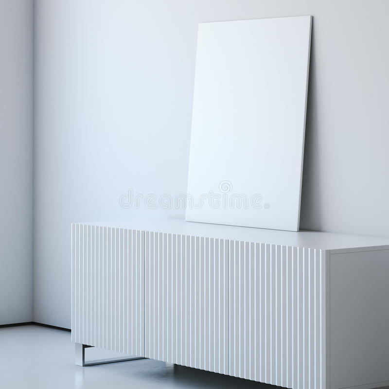 White interior with chest and blank canvas. 3d rendering royalty free stock images
