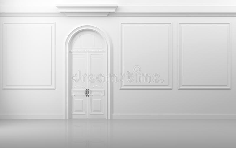 Download White Interior With Closed Door And Frames Stock Illustration - Illustration: 26898639