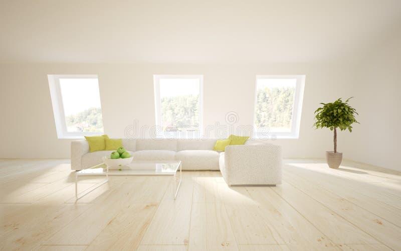 White interior concept for living room royalty free illustration