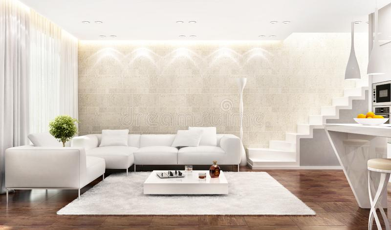 White interior of modern kitchen combined with living room vector illustration