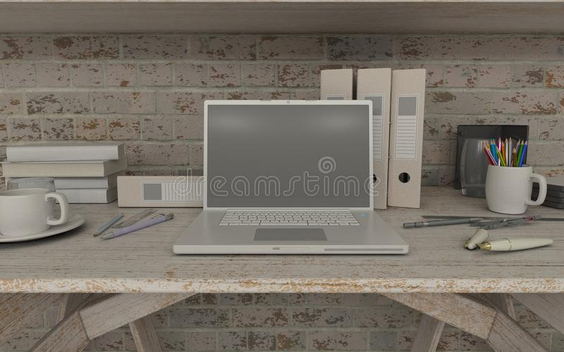 White interior desk and bookshelf stock illustration