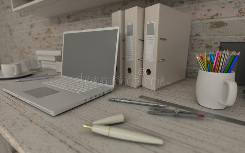 White interior desk and bookshelf royalty free illustration