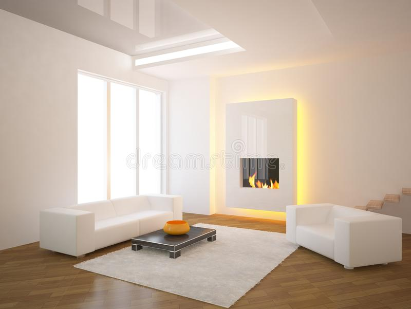 White interior with fire stock illustration
