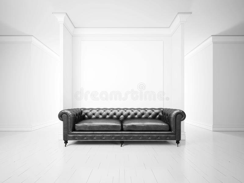 White interior with sofa and banner stock images