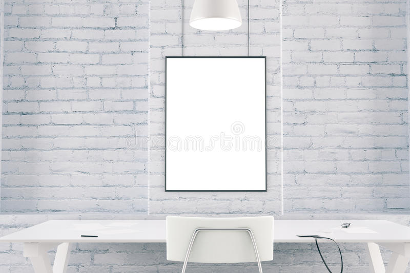 White interior with table, chair, brick wall and blank picture f royalty free stock image