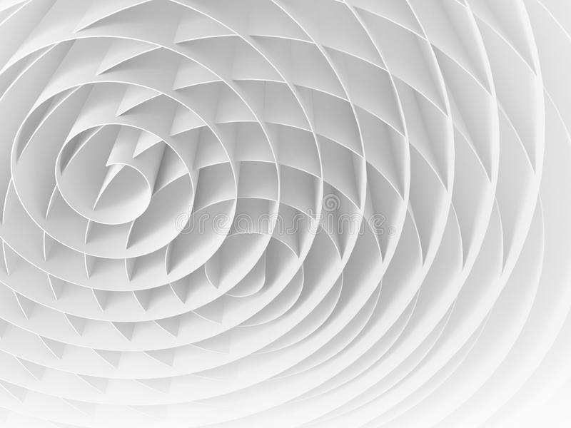 White intersected 3d spirals, abstract digital illustration stock illustration