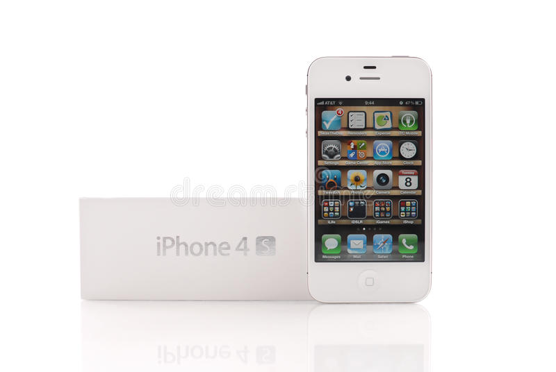 White Iphone 4S. Homepage With Apps And Folders royalty free stock images