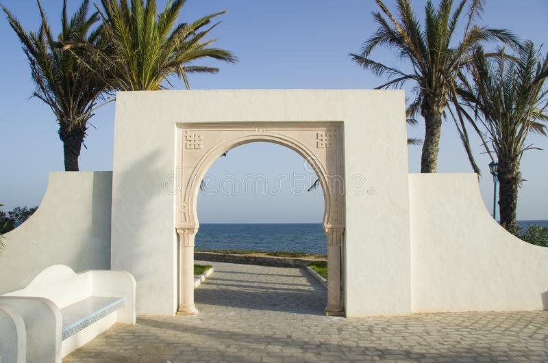 White islam gate over blue sea