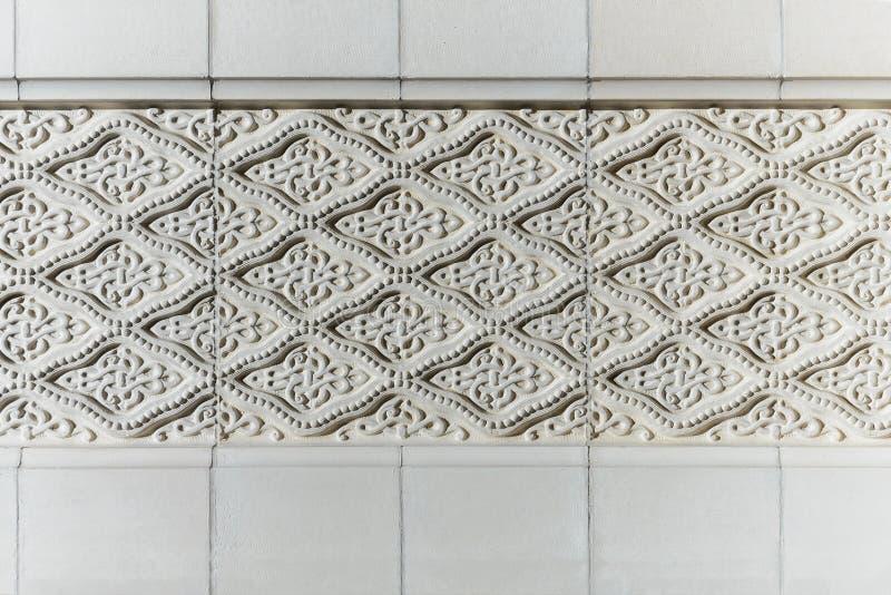 White islamic arabic pattern. Stone wall exterior architecture design, horizontal stock photo image background royalty free stock images