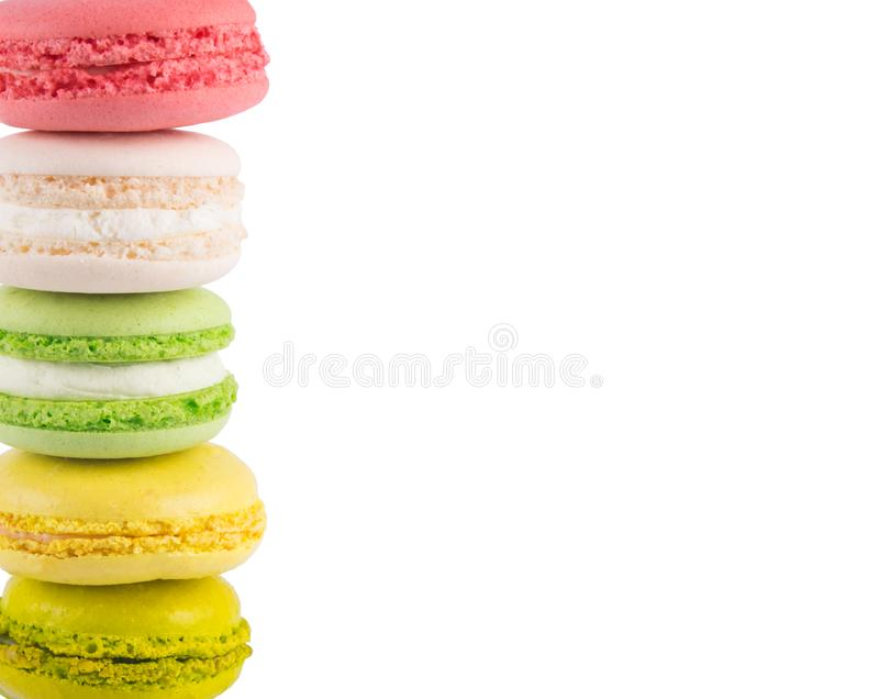 White isolated background, with cookie edge macaron stock photography