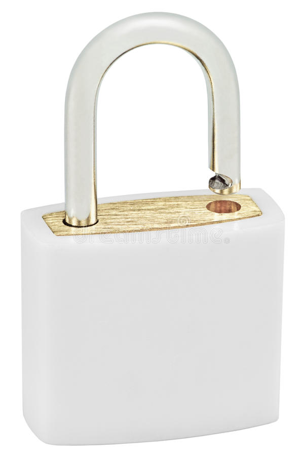 White Isolated Padlock Macro Closeup, Large Detailed Vertical Studio Shot, Open Lock Protection Security Concept, Golden Brass. White Isolated Padlock Macro royalty free stock photos
