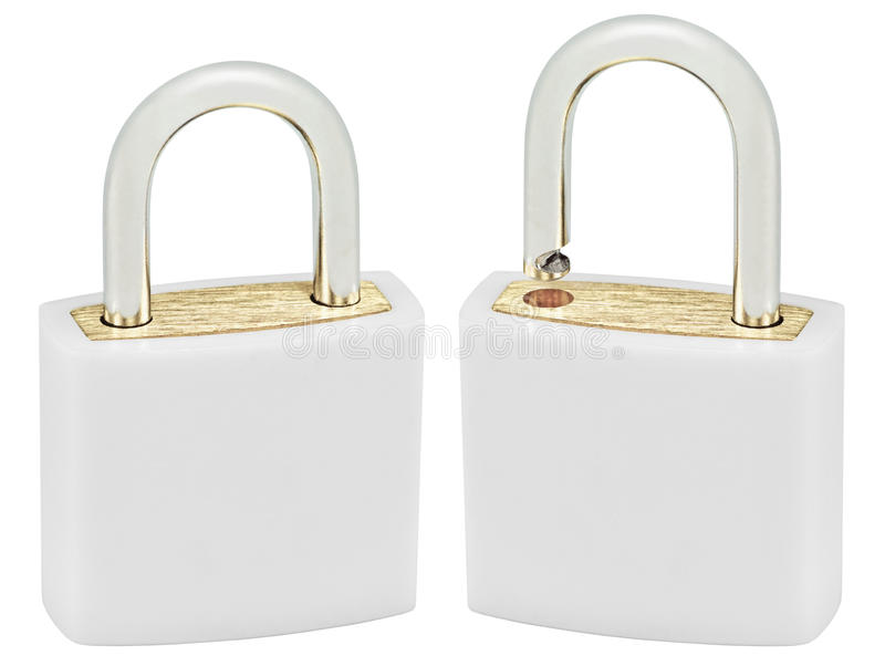 White Isolated Padlock Pair Macro Closeup, Large Detailed Vertical Studio Shot, Open, Closed Lock Protection Security Concept. Golden Brass, Two Padlocks stock photos