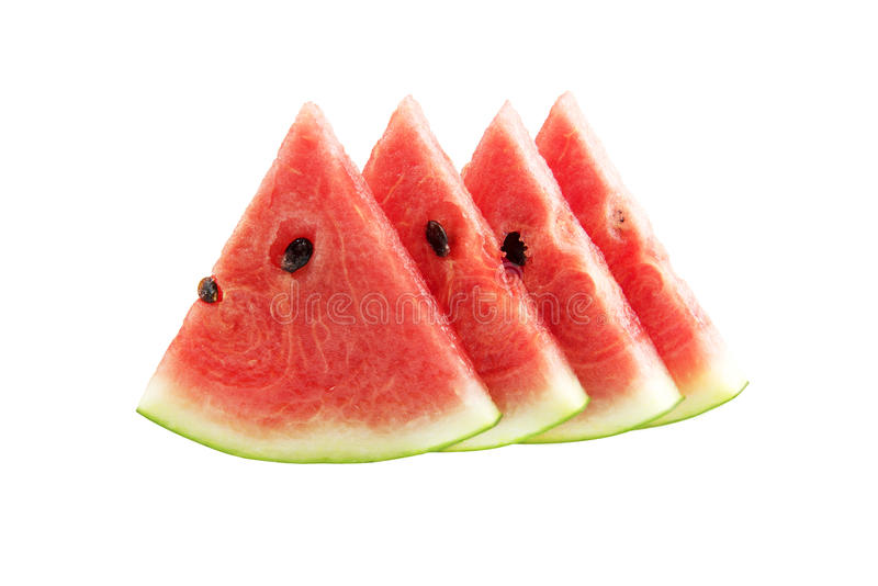 White isolated Watermelon`s piece Background with clipping path.  royalty free stock photography
